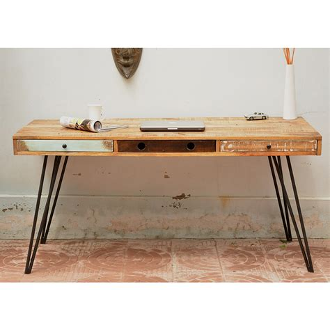 bureaux vintage bureau design en bois jeux de couleurs et 3 tiroirs