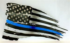 "Thin Blue Line USA Tattered flag 24"" x 14"""