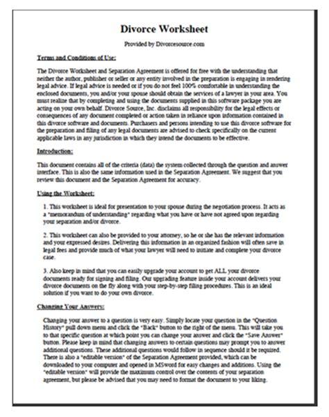 divorce worksheet separation agreement divorce source
