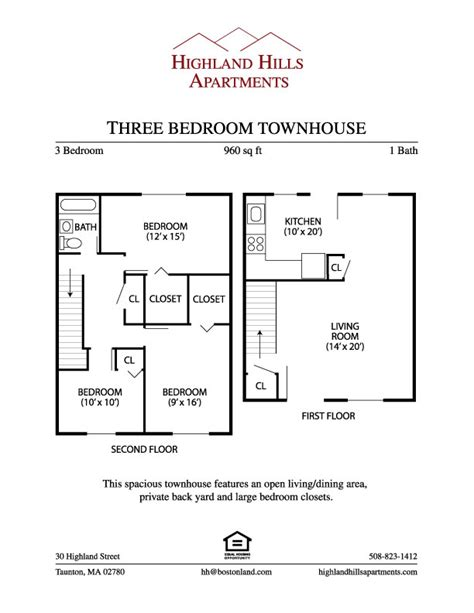 highland apartments three bedroom floor plan