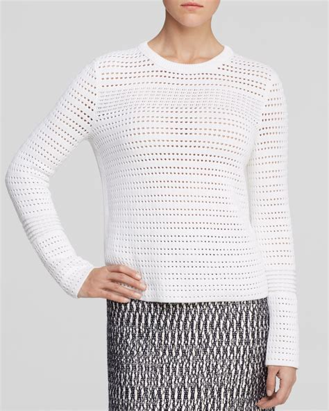 burch sweater burch open knit sweater in white lyst