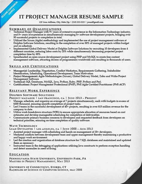 project manager resume template project manager resume sle writing tips resume companion
