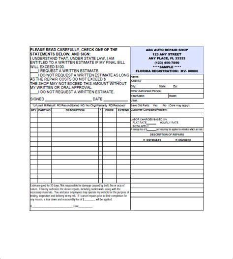 auto repair invoice template   word excel