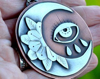 crescent moon necklace traditional tattoo flash   eye large statement pendant