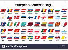 set of European countries flags icons Stock Photo