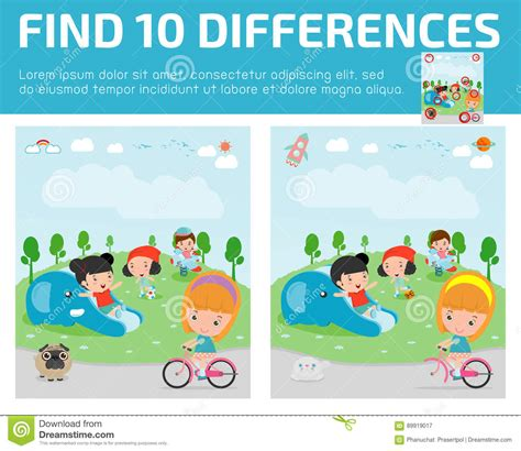 find differences for find differences brain 173 | find differences game kids find differences brain games children game educational game preschool children vector illus 89919017
