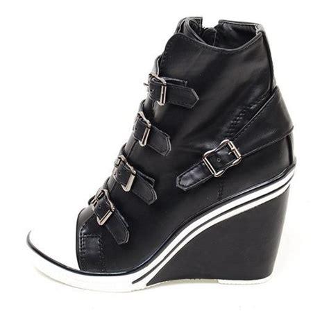 women wedge high heel high top sneakers tennis shoes ankle