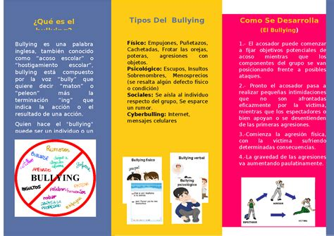 Triptico sobre el bullying Docsity