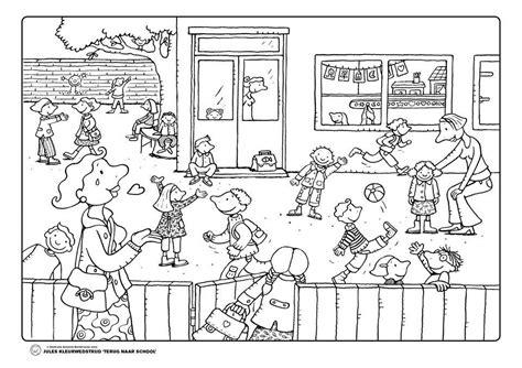 Kleurplaten School by Kleurplaat Jules Op De Speelplaats School Naar School