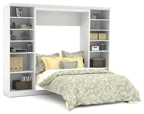 109 In. Full Wall Bed With 25 In. Storage Unit In White