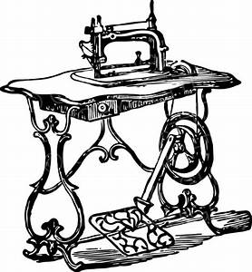 Old Sewing Machine Vintage Black and White Clip Art ...