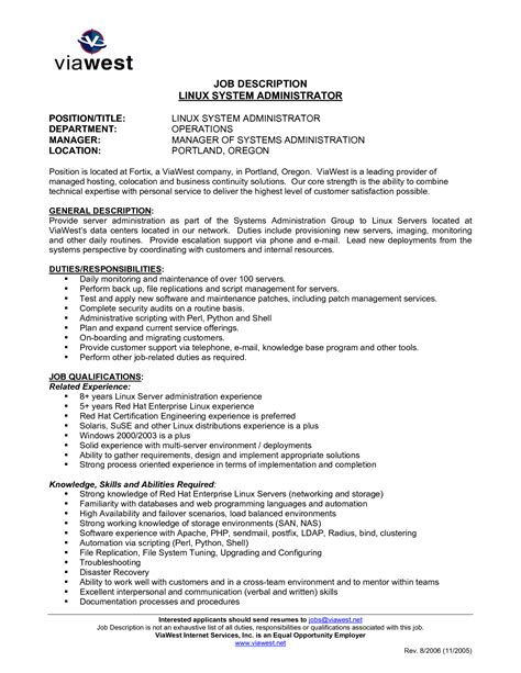 Unix Admin Resume Exles by Unix System Administration Sle Resume Haadyaooverbayresort