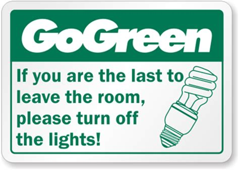 go green turn the lights label recyclereminders sku lb 1423