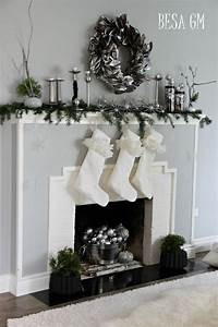 Holiday, Mantel, U2013, Silver, U0026, White, With, A, Touch, Of, Black