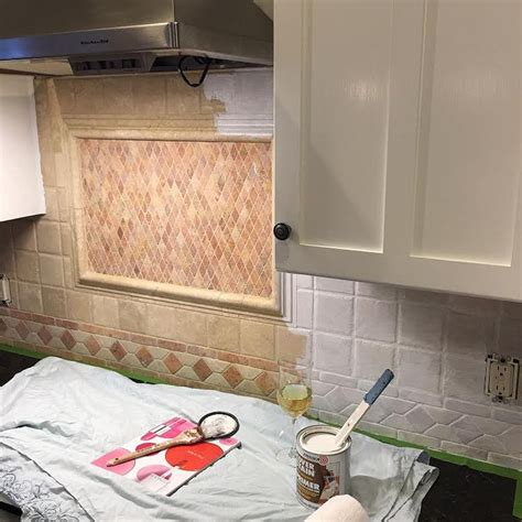 painted backsplash ideas kitchen how to paint kitchen tiles tile design ideas