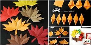 Origami Fall Leaf DIY -- Paper Craft BeesDIY com