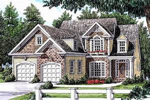 Traditional, House, Plan, With, Brick, And, Shake-shingle, Exterior