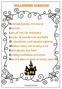 Halloween Acrostic Poems by Halloween Poems Pack Templates Student Centered