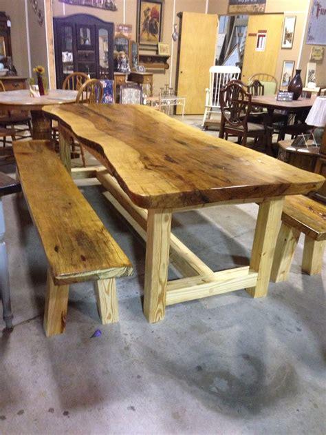 custom  farm table  benches  slabs  solid