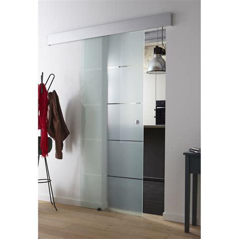 porte coulissante en verre pour cuisine porte coulissante verre trempé floride artens 204 x 73 cm