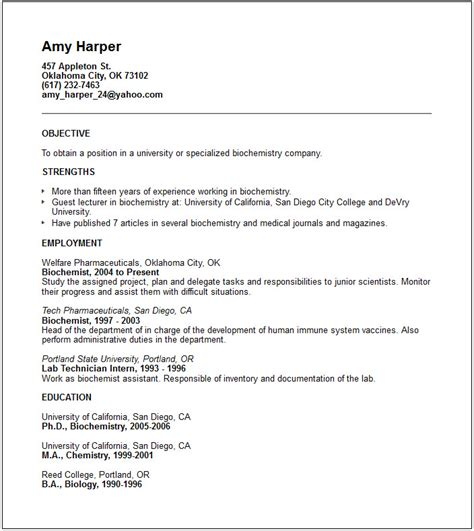 resume format zoology resume template