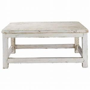 Table Basse Blanc Bois : table basse en manguier blanc vieilli l 90 cm avignon maisons du monde ~ Teatrodelosmanantiales.com Idées de Décoration