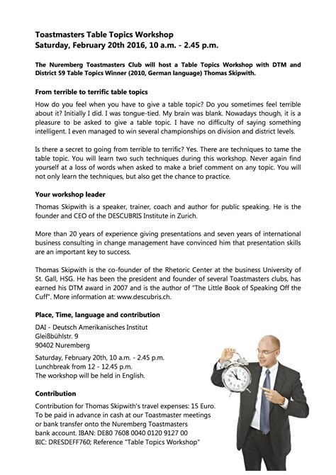 toastmasters table topics questions table topics workshop 20 february 2016 nuremberg