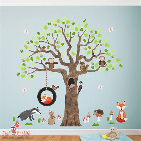 woodland animals  oak tree fabric wall stickers