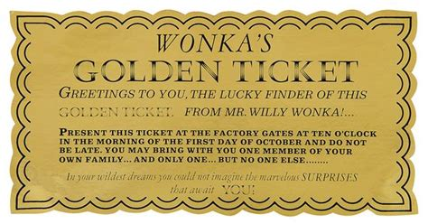 authentic golden ticket  willy wonka   chocolate