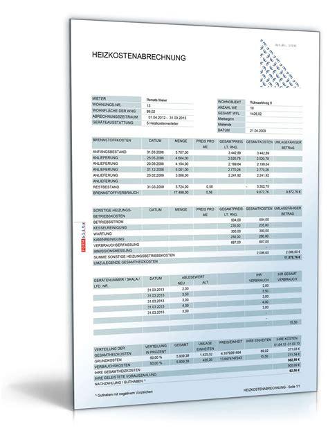heizkostenabrechnung excel tabelle zum
