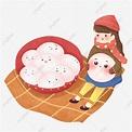 元宵節 元宵 湯圓 小湯圓, 卡通可愛元宵節元宵湯圓插畫, 溫暖, 治愈素材,PSD格式圖案和PNG圖片免費下載