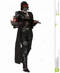 Dystopian Trooper In Gas Mask Stock Illustration - Image ...