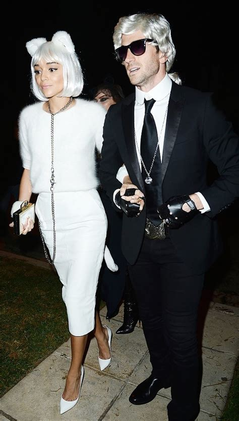 costumes halloween celebrity choupette lagerfeld karl couples costume ashley whowhatwear madekwe couple cat ever kostuem machen selber party idea diy