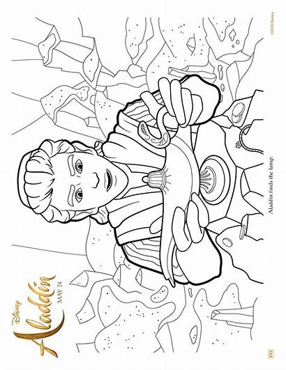 Aladdin Coloring Action Lamp Activity Pages Disney