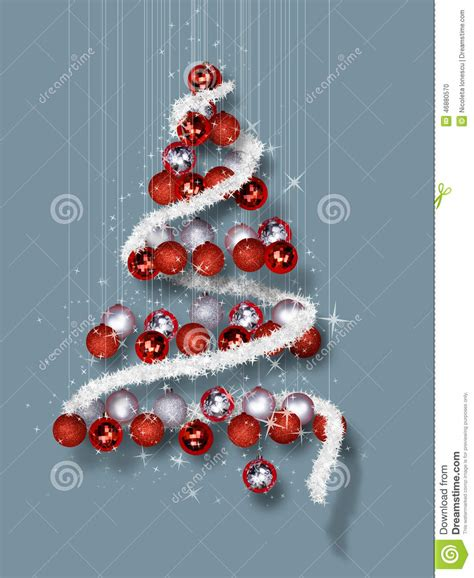 christmas tree made of ornaments on blue background stock