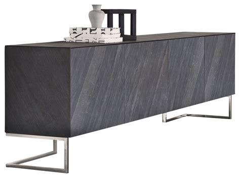 Spazio Sideboard, Black Slate With Chrome Legs