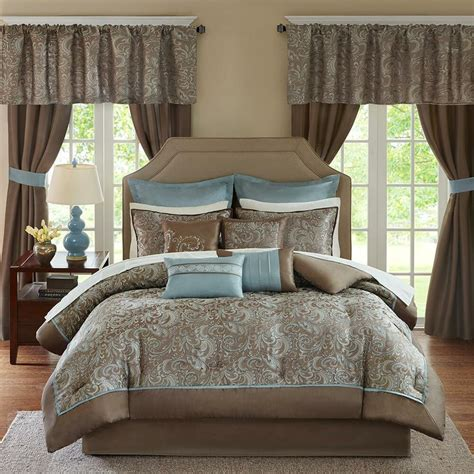 quilt and curtain sets deluxe taupe blue paisley comforter window curtains 24 pcs