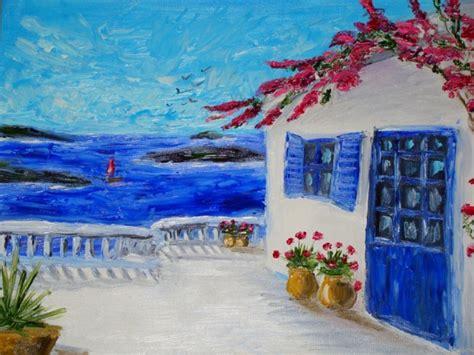 santorini motive impasto original oil painting original