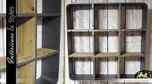 Etagere Style Industriel : etag re murale de style industriel en bois et en m tal int rieurs styles ~ Nature-et-papiers.com Idées de Décoration