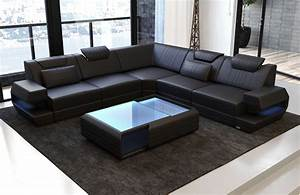 Led Sofa : genuine leather sofa san antonio with led in black ~ Pilothousefishingboats.com Haus und Dekorationen