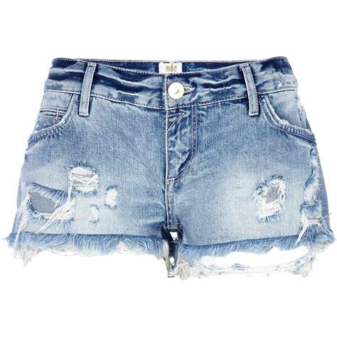 light blue jean shorts river island light wash ripped denim shorts in blue denim