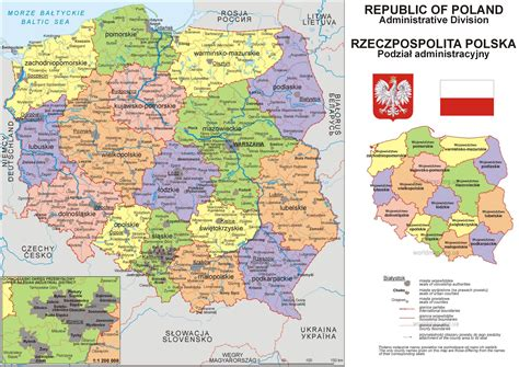 large detailed political  administrative map  poland