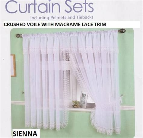 Crushed Voile Curtains Uk by Crushed Voile Macrame Trim Window Set Net Curtain
