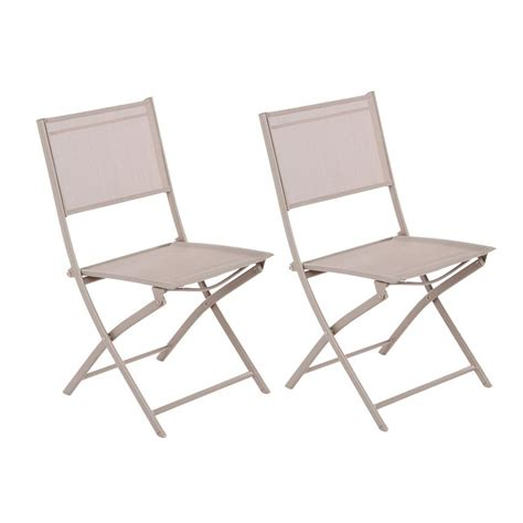chaises pliantes de jardin lot de 2 chaises de jardin pliantes modula taupe