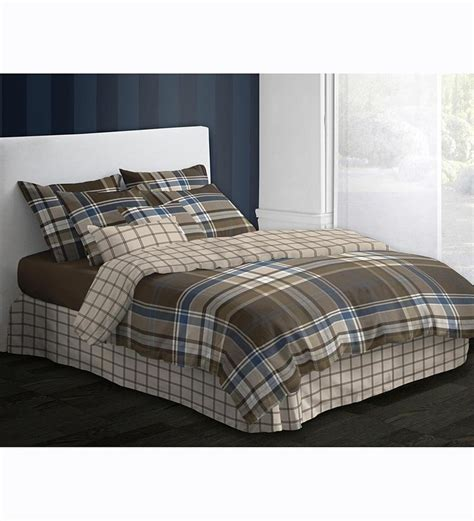 brown country plaid reversible duvet and comforter sets