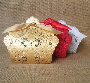 whole sale 100 x wedding candy box gold red white laser With gold wedding favor boxes