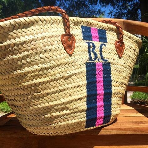 monogrammed bag personalized straw bag customized beach