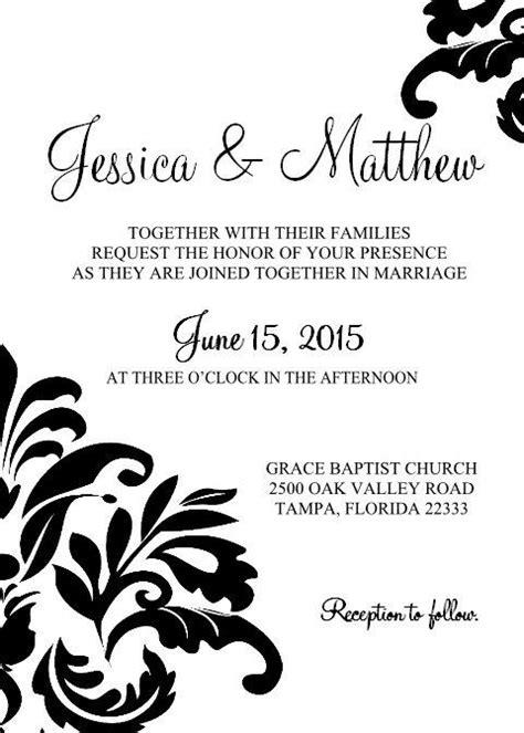 damask printable wedding invite template