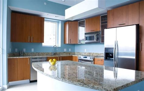 Blue Kitchen Walls With Brown Cabinets by Blue Kitchen Walls With Brown Cabinets Kitchen Ideas