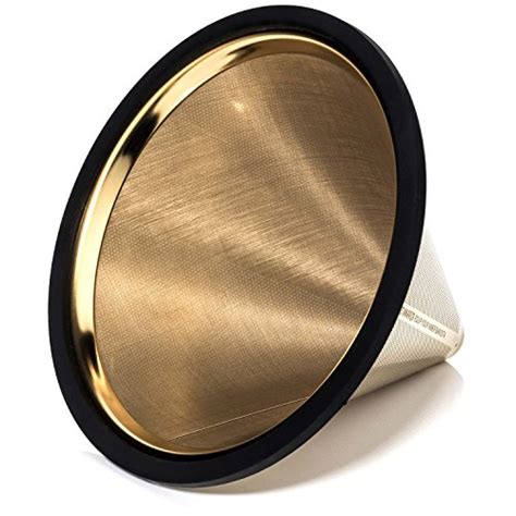 This coffee filter is designed to fit most automatic drip style coffee machines that utilize the #2 size cone filter. TITANIUM COATED GOLD Pour Over Coffee Filter Offer ...